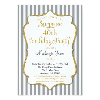 Surprise Party Invitation Gray Grey Gold Elegant