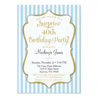 Surprise Party Invitation Light Blue Gold Elegant