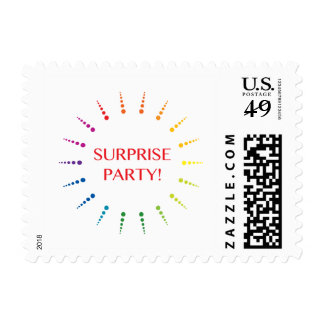 surprise party invitation postage stamp