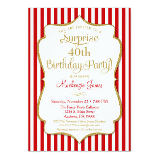 Surprise Party Invitation Red Gold Elegant Adult