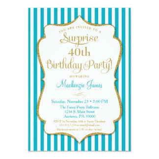 Surprise Party Invitation Turquoise Aqua Gold