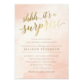 Surprise Party Invitations - Modern Faux Gold
