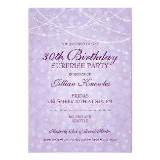 Surprise Party Mauve String Light Bokeh Card