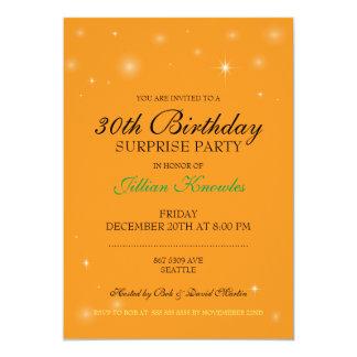 Surprise Party Orange Citrine Orbs Stars Card