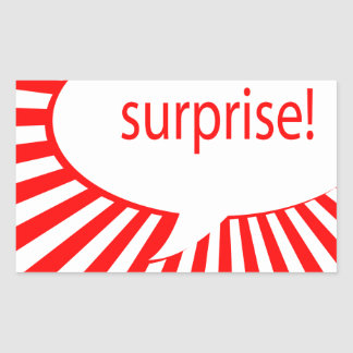 surprise party speech bubble rectangular sticker