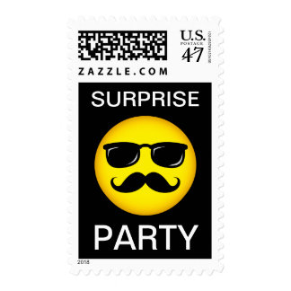 Surprise party stamp, yellow mustache smiley postage