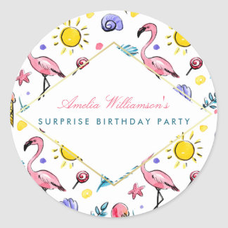 Surprise Party | Summer Flamingo, Lollipop and Sun Classic Round Sticker