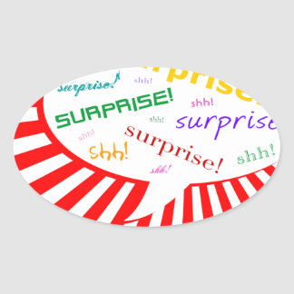 surprise party talking bubble oval sticker