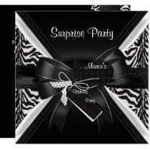 Surprise Party Zebra Black White Bow Image Invitation