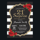"""Surprise Red Rose 21st Birthday Invitation Gold<br><div class=""""desc"""">Surprise Red Rose 21st Birthday Invitation Gold Glitter. Black and Gold Birthday Party Invite. Gold Glitter. Black and White Stripes. Chalkboard. Printable Digital. For further customization,  please click the """"Customize it"""" button and use our design tool to modify this template.</div>"""