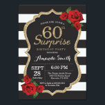 "Surprise Red Rose 60th Birthday Invitation Gold<br><div class=""desc"">Surprise Red Rose 60th Birthday Invitation Gold Glitter. Black and Gold Birthday Party Invite. Gold Glitter. Black and White Stripes. Chalkboard. Printable Digital. For further customization,  please click the ""Customize it"" button and use our design tool to modify this template.</div>"