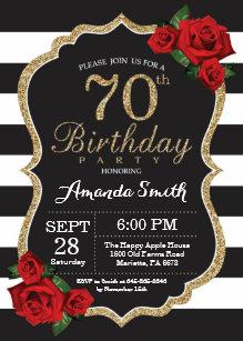 red and black 70th birthday invitations zazzle