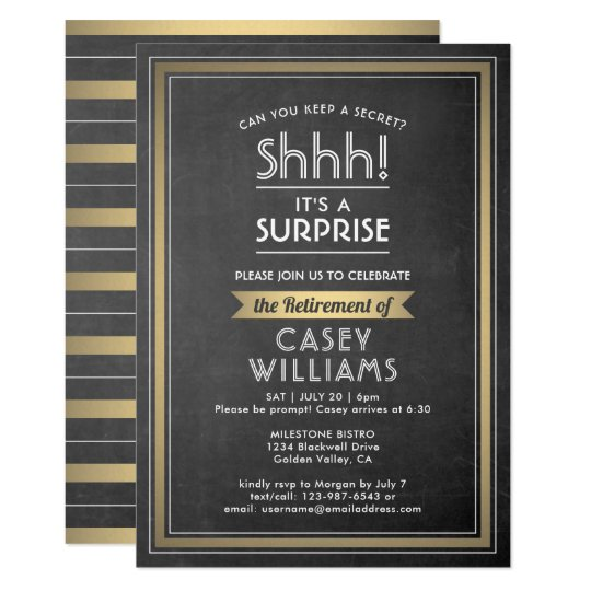 Surprise Retirement Party Elegant Chalkboard Gold Invitation