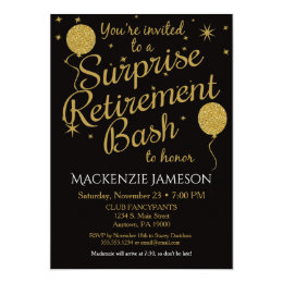 Superb Surprise Retirement Party Invitation Gold Balloons ...