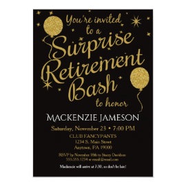 Surprise Retirement Party Invitation Gold Balloons