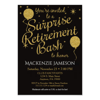 Charming Surprise Retirement Party Invitation Gold Balloons