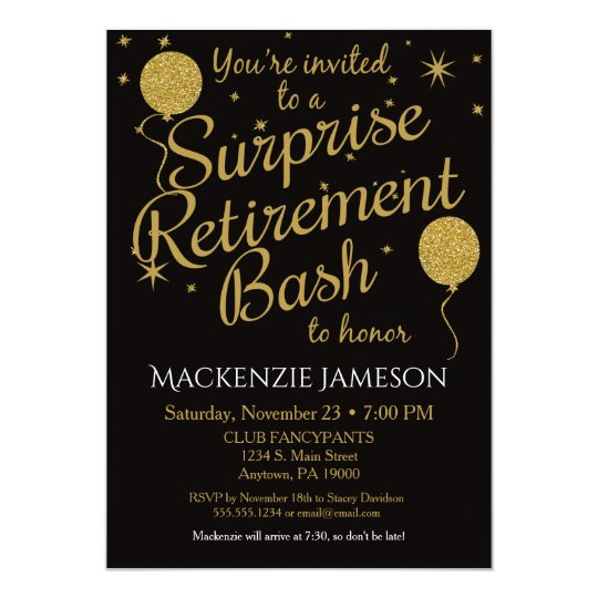 Surprise Retirement Party Invitation Gold Balloons  ZazzleCom