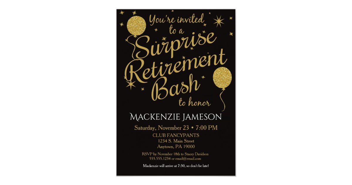 Surprise Retirement Party Invitation Gold Balloons Zazzle