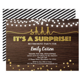 Surprise retirement party invitation wood and gold