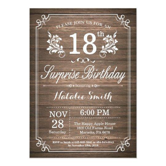 Surprise Rustic 18th Birthday Invitation Floral