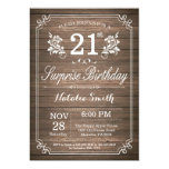 Surprise Rustic 21st Birthday Invitation Floral