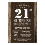 Surprise Rustic 21st Birthday Invitation Vintage