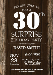 surprise 30th birthday invitations zazzle