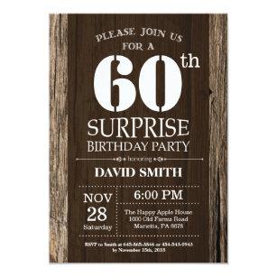 Vintage surprise birthday invitations zazzle surprise rustic 60th birthday invitation vintage filmwisefo