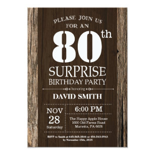 Surprise Rustic 80th Birthday Invitation Vintage