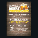 """Surprise Rustic Cheers and Beers 40th Birthday Invitation<br><div class=""""desc"""">Surprise Rustic Cheers and Beers 40th Birthday Invitation Card. Rustic Wood Background. Country Vintage Retro. Adult Birthday. Yellow. 16th 18th 20th 21st 30th 40th 50th 60th 70th 80th 90th 100th. Any Age. For further customization,  please click the """"Customize it"""" button and use our design tool to modify this template.</div>"""