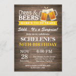 """Surprise Rustic Cheers and Beers 50th Birthday Invitation<br><div class=""""desc"""">Surprise Rustic Cheers and Beers 50th Birthday Invitation Card. Rustic Wood Background. Country Vintage Retro. Adult Birthday. Yellow. 16th 18th 20th 21st 30th 40th 50th 60th 70th 80th 90th 100th. Any Age. For further customization,  please click the """"Customize it"""" button and use our design tool to modify this template.</div>"""