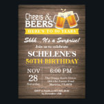 "Surprise Rustic Cheers and Beers 50th Birthday Invitation<br><div class=""desc"">Surprise Rustic Cheers and Beers 50th Birthday Invitation Card. Rustic Wood Background. Country Vintage Retro. Adult Birthday. Yellow. 16th 18th 20th 21st 30th 40th 50th 60th 70th 80th 90th 100th. Any Age. For further customization,  please click the ""Customize it"" button and use our design tool to modify this template.</div>"