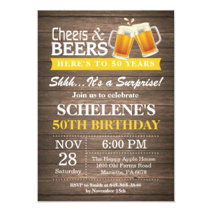 Surprise Rustic Cheers And Beers 50th Birthday Invitation