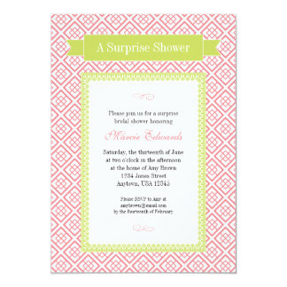 Surprise Shower invitation - Pink and Green