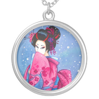 Surprise Snow Geisha Art Custom Necklace