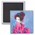 Surprise Snow Magnet Maiko Geisha Japanese Art