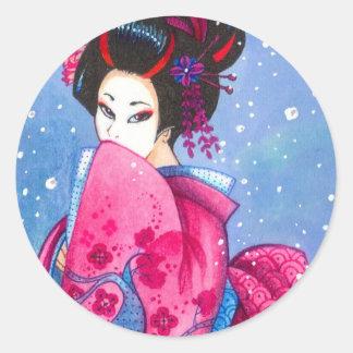 Surprise Snow Sticker Small Maiko Geisha Art