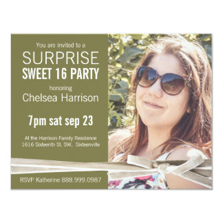 Surprise Sweet 16 Photo Birthday Party 4.25x5.5 Paper Invitation Card