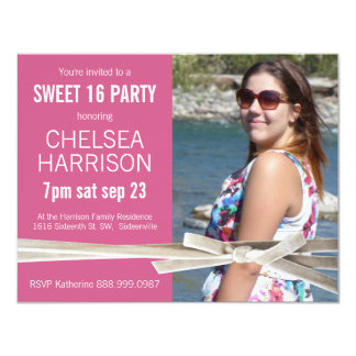 Surprise Sweet 16 Photo Birthday Party Card