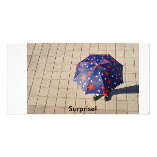 Surprise under the umbrella, Surprise! Custom Photo Card