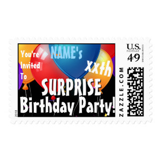 SURPRISE xxth Birthday Party Custom Stamp BLUE