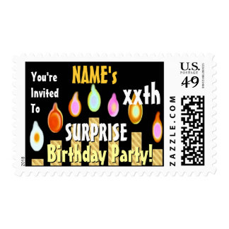 SURPRISE xxth Birthday Party Custom Stamp GOLD
