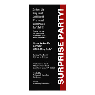 SURPRISE Year Birthday Chic Modern Black Red White Personalized Invitation