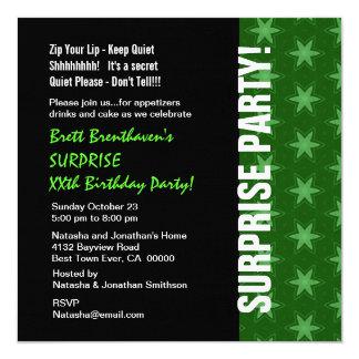 SURPRISE Year Birthday Modern Green Stars V01H Invitation