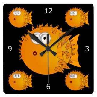 Surprised Blowfish Square Wall Clock
