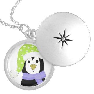 Surprised Cartoon Penguin Round Locket Necklace