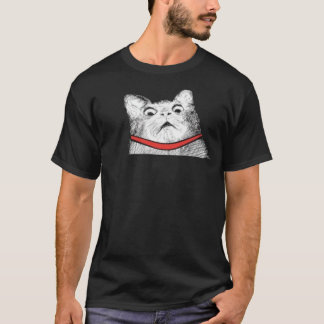 Surprised Cat Gasp Meme - Black T-Shirt
