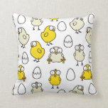 Surprised Easter chickens Throw Pillow