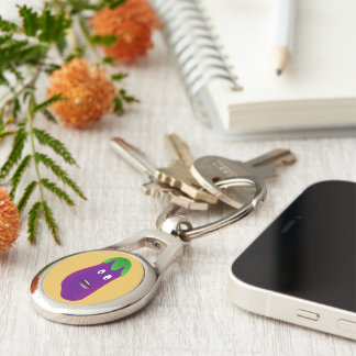 Surprised Eggplant Silver-Colored Oval Metal Keychain