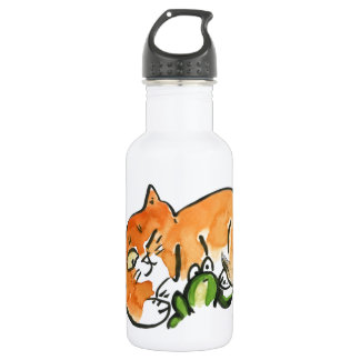 Surprised - Frog or Naping Cat Stainless Steel Water Bottle